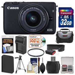 Canon EOS M10 Wi-Fi Digital ILC Camera and EF-M 15-45mm IS STM Lens-Black-with 32GB Card and Case and Battery and Charger and Tripod and Filter and Strap and Kit