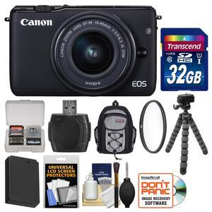 Canon EOS M10 Wi-Fi Digital ILC Camera and EF-M 15-45mm IS STM Lens-Black-with 32GB Card and Backpack and Battery and Flex Tripod and Filter and Kit