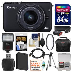 Canon EOS M10 Wi-Fi Digital ILC Camera and EF-M 15-45mm IS STM Lens-Black-with 64GB Card and Case and Flash and Battery and Tripod and Filter and Kit