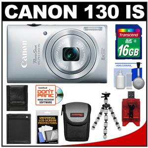 Canon PowerShot ELPH 130 IS Wi-Fi Digital Camera (Silver) with 16GB Card + Battery + Case + Flex Tripod + Accessory Kit at Sears.com