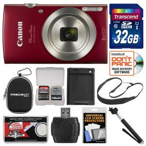 Canon PowerShot Elph 180 Digital Camera - Red - with 32GB Card + Case + Battery + Selfie Stick + Sling Strap + Kit