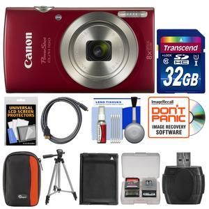 Canon PowerShot Elph 180 Digital Camera - Red - with 32GB Card + Case + Battery + Tripod + Kit
