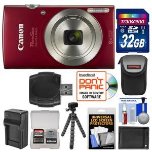 Canon PowerShot Elph 180 Digital Camera - Red - with 32GB Card + Case + Battery and Charger + Flex Tripod + Kit