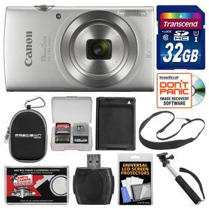 Canon PowerShot Elph 180 Digital Camera-Silver-with 32GB Card and Case and Battery and Selfie Stick and Sling Strap and Kit