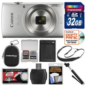Canon PowerShot Elph 180 Digital Camera - Silver - with 32GB Card + Case + Battery + Selfie Stick + Sling Strap + Kit