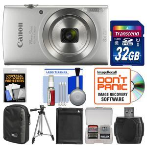 Canon PowerShot Elph 180 Digital Camera - Silver - with 32GB Card + Case + Battery + Tripod + Kit