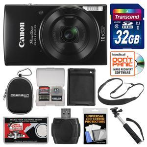 Canon PowerShot Elph 190 IS Wi-Fi Digital Camera-Black-with 32GB Card and Case and Battery and Selfie Stick and Sling Strap and Kit