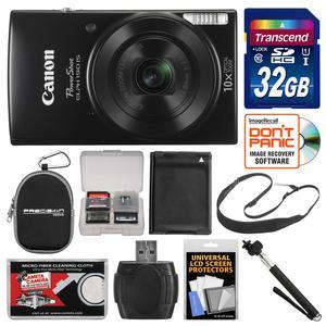 Canon PowerShot Elph 190 IS Wi-Fi Digital Camera - Black - with 32GB Card + Case + Battery + Selfie Stick + Sling Strap + Kit