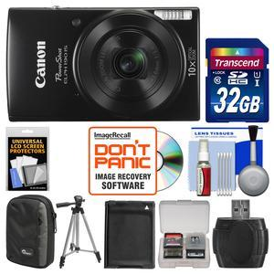 Canon PowerShot Elph 190 IS Wi-Fi Digital Camera-Black-with 32GB Card and Case and Battery and Tripod and Kit