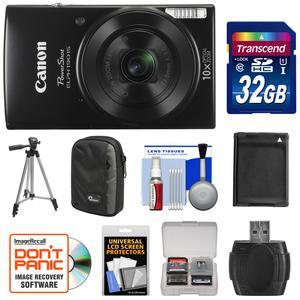 Canon PowerShot Elph 190 IS Wi-Fi Digital Camera - Black - with 32GB Card + Case + Battery + Tripod + Kit