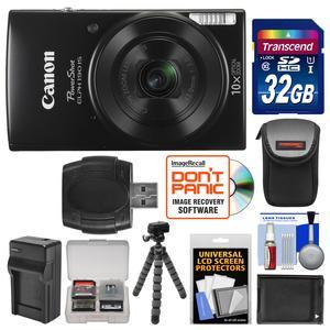 Canon PowerShot Elph 190 IS Wi-Fi Digital Camera-Black-with 32GB Card and Case and Battery and Charger and Flex Tripod and Kit