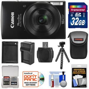 Canon PowerShot Elph 190 IS Wi-Fi Digital Camera - Black - with 32GB Card + Case + Battery and Charger + Flex Tripod + Kit