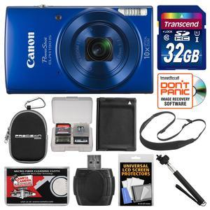 Canon PowerShot Elph 190 IS Wi-Fi Digital Camera - Blue - with 32GB Card + Case + Battery + Selfie Stick + Sling Strap + Kit