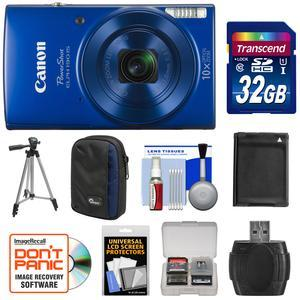 Canon PowerShot Elph 190 IS Wi-Fi Digital Camera - Blue - with 32GB Card + Case + Battery + Tripod + Kit