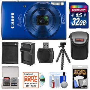 Canon PowerShot Elph 190 IS Wi-Fi Digital Camera - Blue - with 32GB Card + Case + Battery and Charger + Flex Tripod + Kit