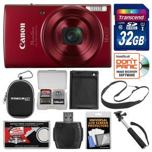 Canon PowerShot Elph 190 IS Wi-Fi Digital Camera-Red-with 32GB Card and Case and Battery and Selfie Stick and Sling Strap and Kit