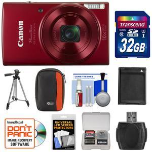 Canon PowerShot Elph 190 IS Wi-Fi Digital Camera - Red - with 32GB Card + Case + Battery + Tripod + Kit