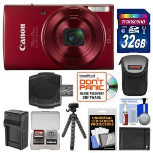 Canon PowerShot Elph 190 IS Wi-Fi Digital Camera-Red-with 32GB Card and Case and Battery and Charger and Flex Tripod and Kit