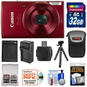 Canon PowerShot Elph 190 IS Wi-Fi Digital Camera - Red - with 32GB Card + Case + Battery and Charger + Flex Tripod + Kit