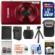 Canon PowerShot Elph 190 IS Wi-Fi Digital Camera (Red) with 32GB Card + Case + Battery & Charger + Flex Tripod + Kit