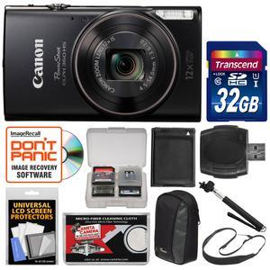 Canon PowerShot Elph 360 HS Wi-Fi Digital Camera - Black - with 32GB Card + Case + Battery + Selfie Stick + Sling Strap + Kit