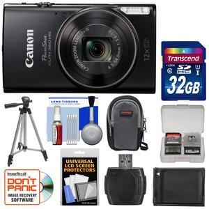 Canon PowerShot Elph 360 HS Wi-Fi Digital Camera - Black - with 32GB Card + Case + Battery + Tripod + Kit
