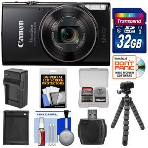 Canon PowerShot Elph 360 HS Wi-Fi Digital Camera - Black - with 32GB Card + Battery and Charger + Flex Tripod + Kit