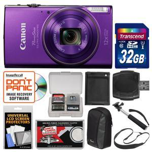 Canon PowerShot Elph 360 HS Wi-Fi Digital Camera-Purple-with 32GB Card and Case and Battery and Selfie Stick and Sling Strap and Kit