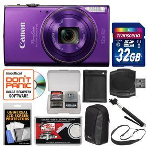 Canon PowerShot Elph 360 HS Wi-Fi Digital Camera - Purple - with 32GB Card + Case + Battery + Selfie Stick + Sling Strap + Kit