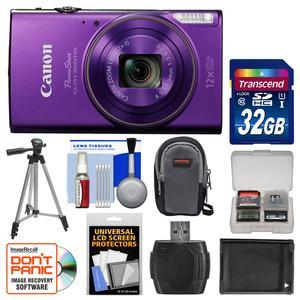 Canon PowerShot Elph 360 HS Wi-Fi Digital Camera - Purple - with 32GB Card + Case + Battery + Tripod + Kit