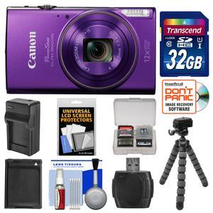 Canon PowerShot Elph 360 HS Wi-Fi Digital Camera - Purple - with 32GB Card + Battery and Charger + Flex Tripod + Kit