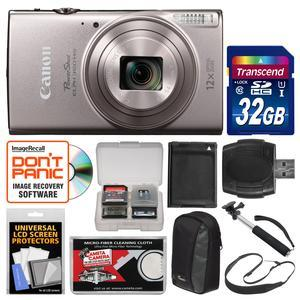 Canon PowerShot Elph 360 HS Wi-Fi Digital Camera-Silver-with 32GB Card and Case and Battery and Selfie Stick and Sling Strap and Kit