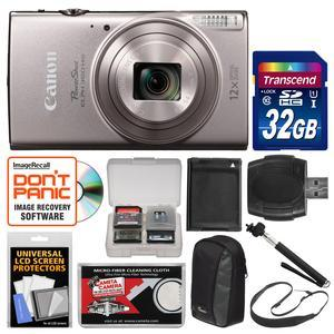 Canon PowerShot Elph 360 HS Wi-Fi Digital Camera - Silver - with 32GB Card + Case + Battery + Selfie Stick + Sling Strap + Kit