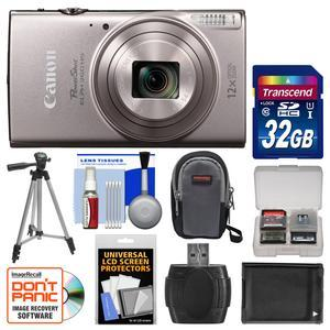 Canon PowerShot Elph 360 HS Wi-Fi Digital Camera - Silver - with 32GB Card + Case + Battery + Tripod + Kit