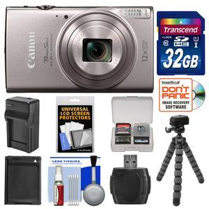 Canon PowerShot Elph 360 HS Wi-Fi Digital Camera - Silver - with 32GB Card + Battery and Charger + Flex Tripod + Kit