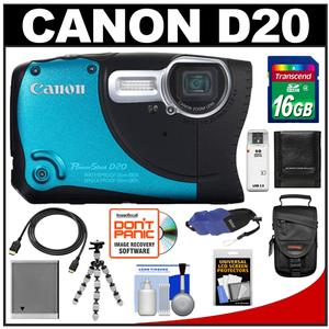 Canon PowerShot D20 Shock + Waterproof GPS Digital Camera with 16GB Card + Case + Tripod + HDMI Cable + Float Strap + Accessory Kit at Sears.com