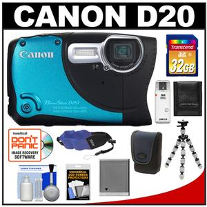 Canon PowerShot D20 Shock + Waterproof GPS Digital Camera with 32GB Card + Case + Battery + Tripod + Float Strap + Accessory Kit at Sears.com
