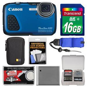 Canon PowerShot D30 Shock and Waterproof GPS Digital Camera with 16GB Card and Case and Battery and Float Strap and Accessory Kit