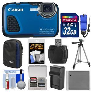 Canon PowerShot D30 Shock and Waterproof GPS Digital Camera with 32GB Card and Case and Battery and Charger and Tripod and Float Strap and Kit
