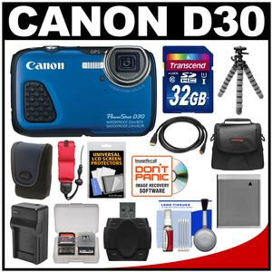 Canon PowerShot D30 Shock and Waterproof GPS Digital Camera with 32GB Card and Case and Battery/Charger and Flex Tripod and Float Strap and Kit