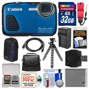 Canon PowerShot D30 Shock and Waterproof GPS Digital Camera with 32GB Card and Case and Battery-Charger and Flex Tripod and Float Strap and Kit