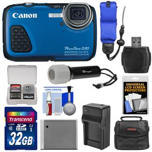 Canon PowerShot D30 Shock and Waterproof GPS Digital Camera with 32GB Card and Case and Battery and Charger and Strap and LED Torch and Kit