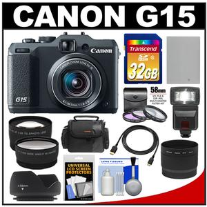 Canon PowerShot G15 Digital Camera (Black) with 32GB Card + Flash + Case + Battery + HDMI Cable + Wide/Tele Lenses + Filters Kit at Sears.com