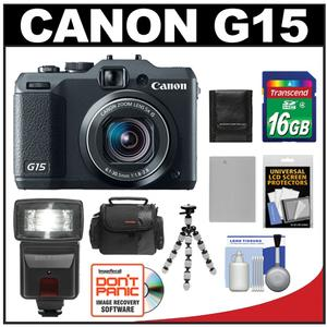 Canon PowerShot G15 Digital Camera (Black) with 16GB Card + Flash + Battery + Case + Flex Tripod + Accessory Kit at Sears.com