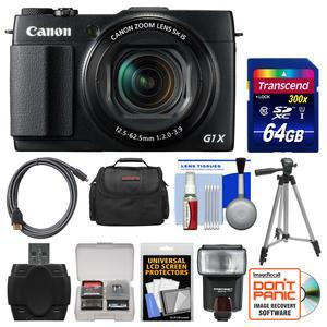 Canon PowerShot G1 X Mark II Wi-Fi Digital Camera with 64GB Card + Case + Flash + Tripod + Kit