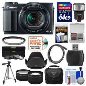 Canon PowerShot G1 X Mark II Wi-Fi Digital Camera with 64GB Card + Case + Flash + Tripod + Filters + Tele-Wide Lens Kit