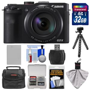 Canon PowerShot G3 X Wi-Fi Digital Camera with 32GB Card and Battery and Case and Flex Tripod and Kit