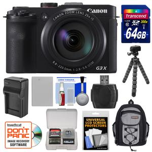 Canon PowerShot G3 X Wi-Fi Digital Camera with 64GB Card and Battery and Charger and Backpack and Flex Tripod and Kit