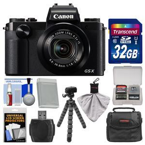 Canon PowerShot G5 X Wi-Fi Digital Camera with 32GB Card and Case and Battery and Flex Tripod and Kit