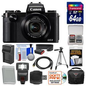 Canon PowerShot G5 X Wi-Fi Digital Camera with 64GB Card and Case and Flash and Battery and Charger and Tripod and Strap and Kit